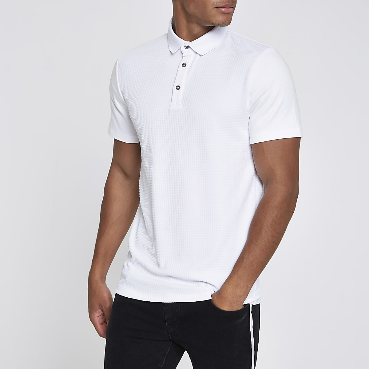 White slim fit polo shirt