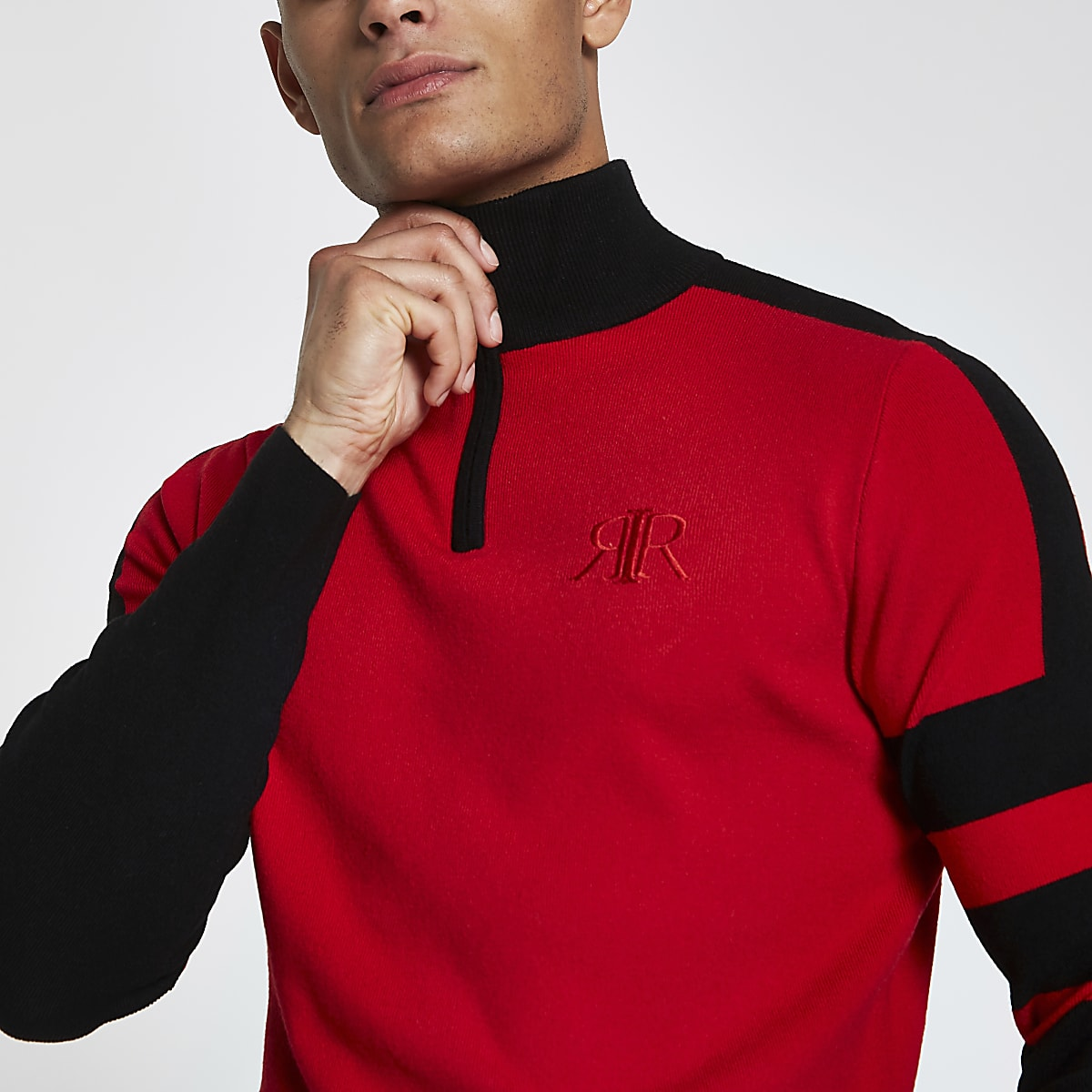 Red colour block slim fit zip front jumper
