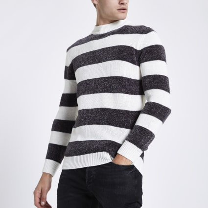 Cream stripe slim fit chenille knit jumper