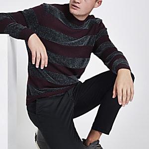 Purple stripe slim fit chenille knit sweater
