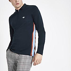 Navy slim fit zip tape long sleeve polo shirt