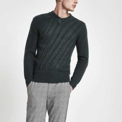 Green cable knit slim fit jumper