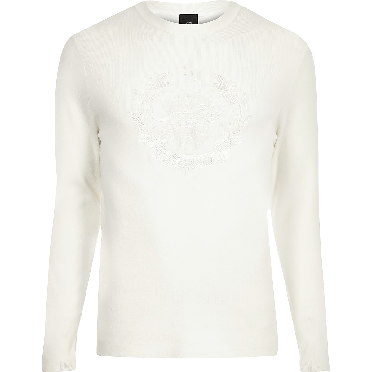 Ecru embroidered slim fit long sleeve jumper