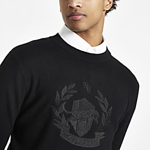 Black embroidered slim fit long sleeve sweater