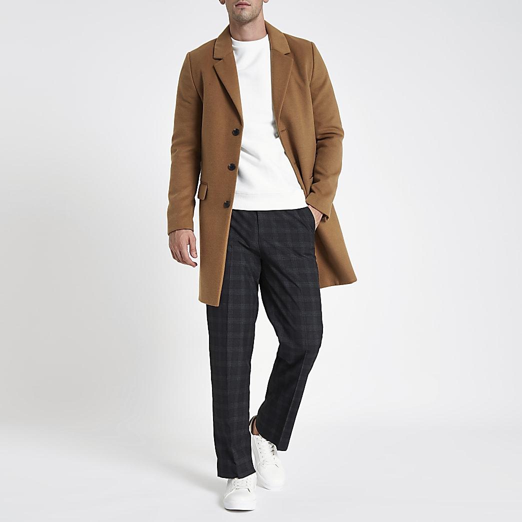 Grey check wide leg smart trousers