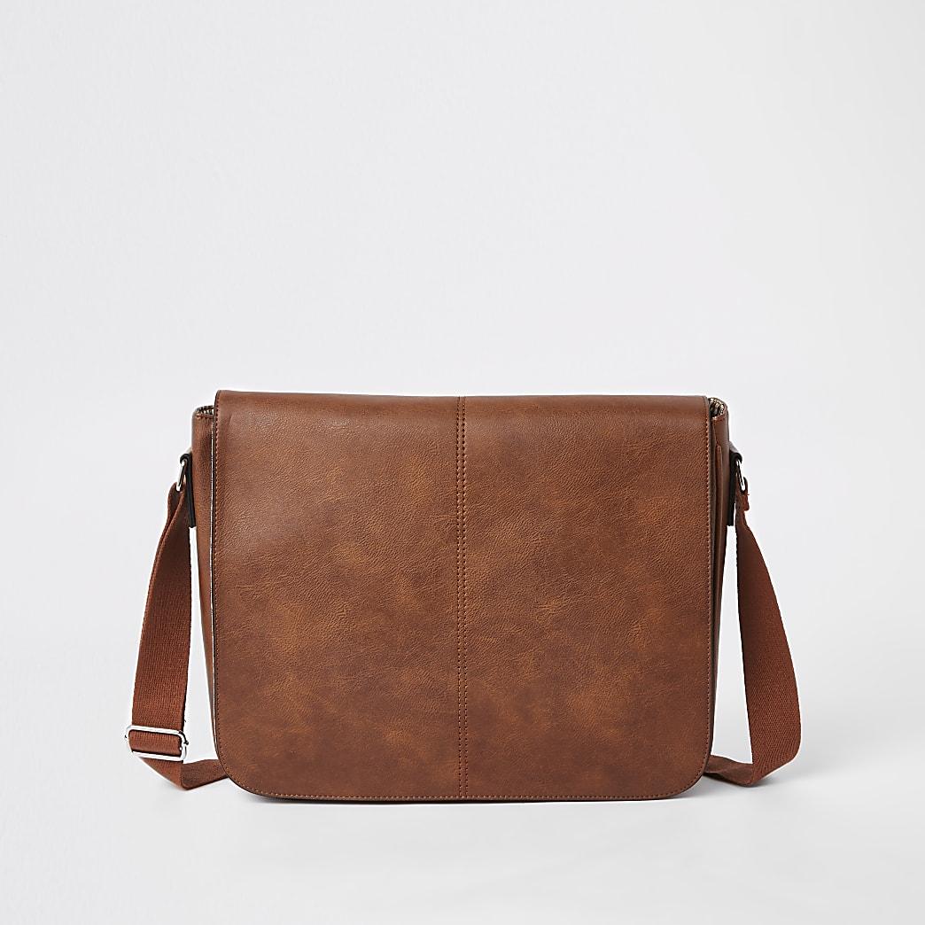Sacoche en cuir synthétique marron à rabat