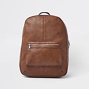 Sac à dos en cuir synthétique marron avec poche sur le devant