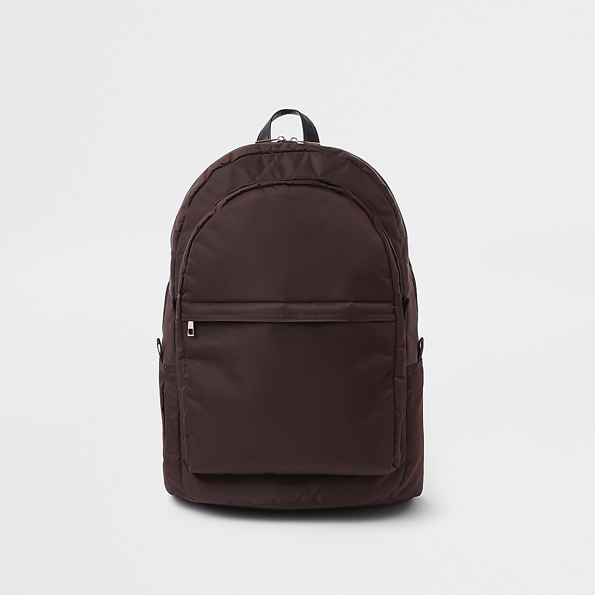 Red front pocket quilted backpack
