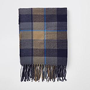 Ecru check 'Vivir para siempre' print scarf