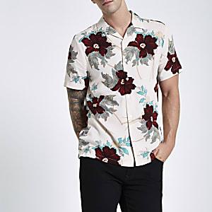 Chemise à fleurs écrue avec col à revers