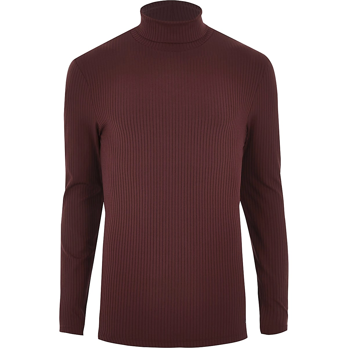 0cfacd5eac4 Dark red rib roll neck muscle fit top