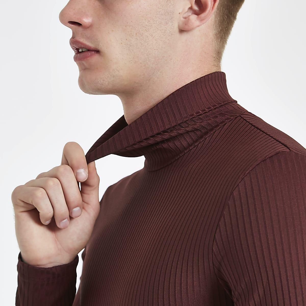 Dark red rib roll neck muscle fit top
