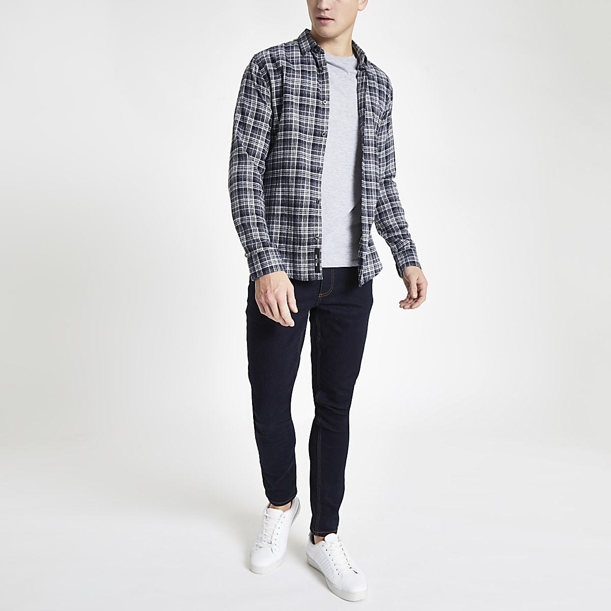 Only & Sons navy check slim fit shirt