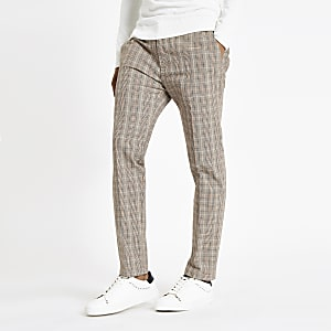 Light brown check skinny fit trousers