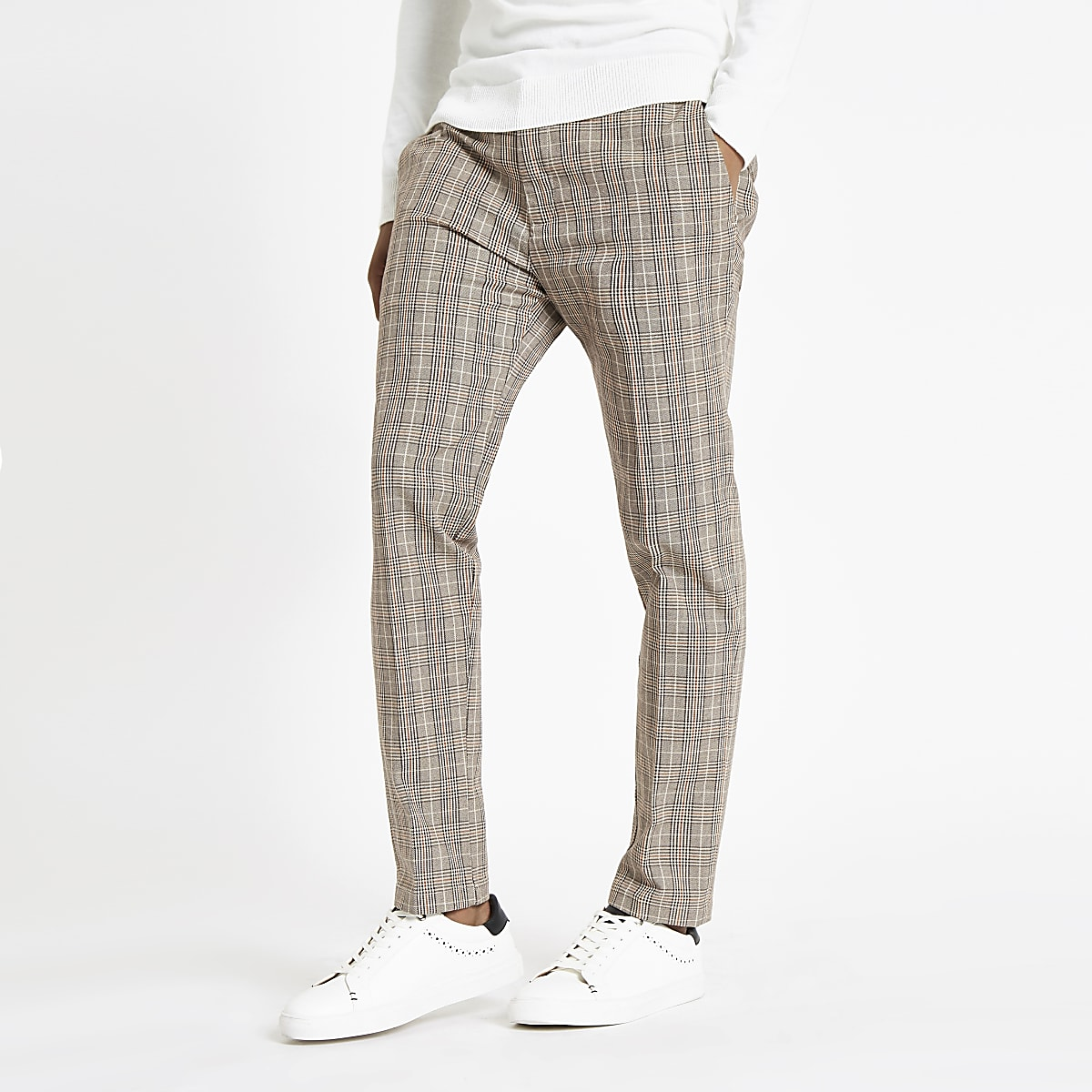 Light brown check skinny fit pants