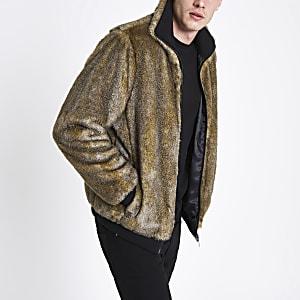 Braune Jacke mit Kunstfell und Reißverschluss