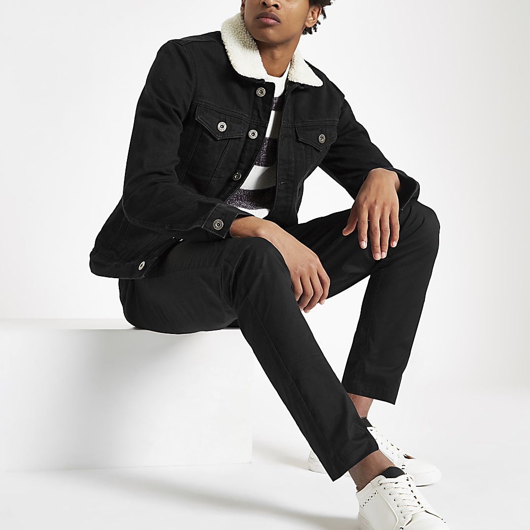 Black borg lined denim jacket