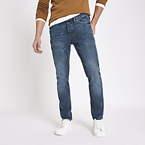 Dylan – Blaue Slim Fit Jeans im Used Look