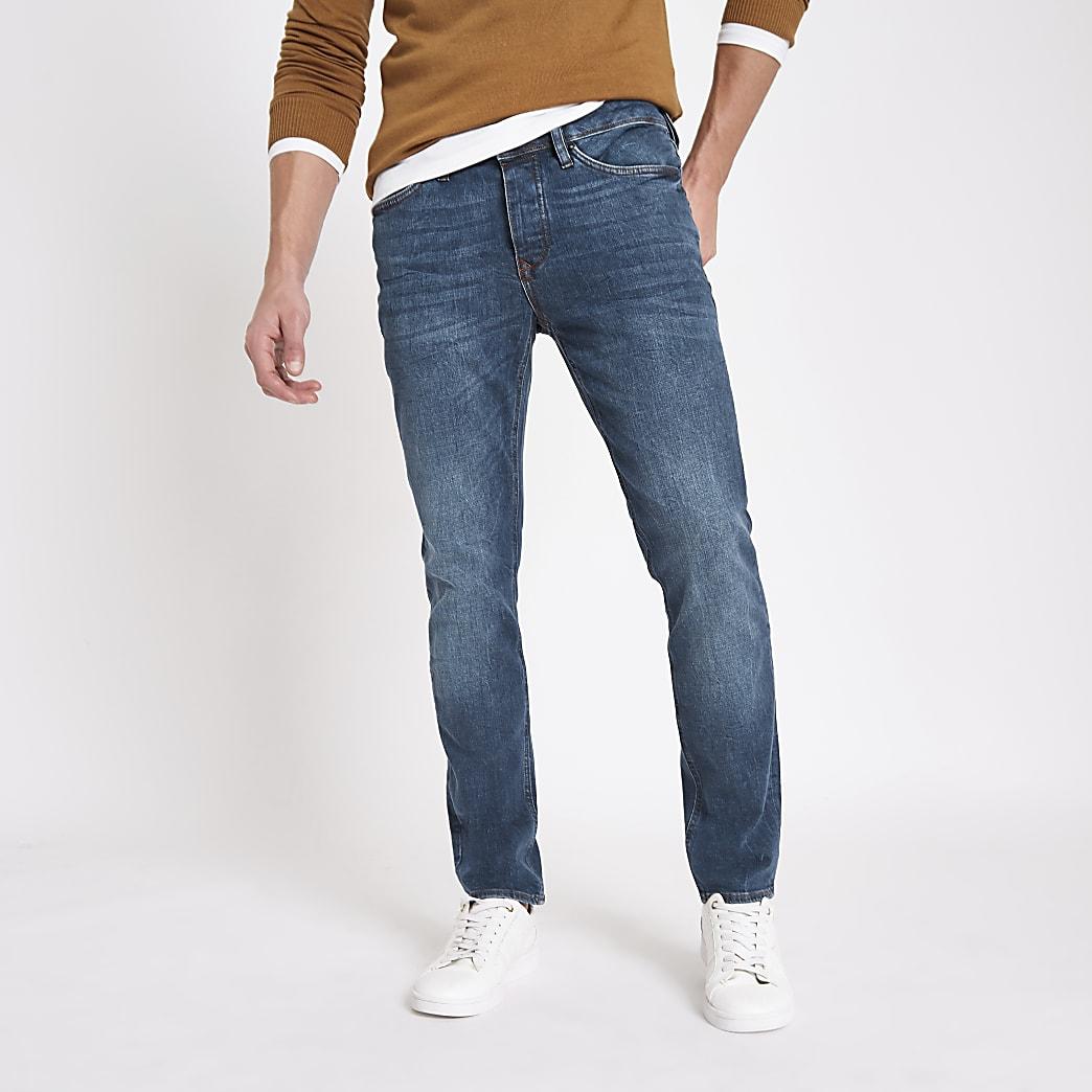 Dylan - Blauwe slim-fit distressed jeans