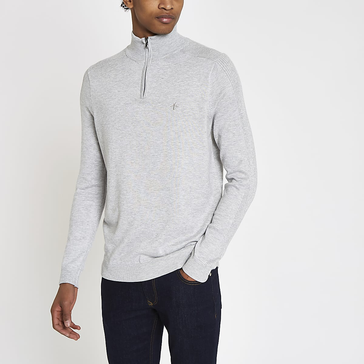 Grey slim fit funnel neck zip up jumper