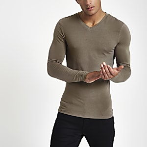 Muscle Fit T-Shirt mit V-Ausschnitt in Taupe