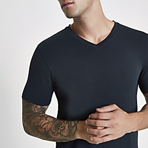 Navy muscle fit V neck T-shirt