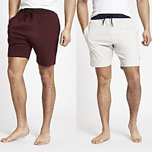 R96 – Lot de 2 shorts dont un rouge et un gris