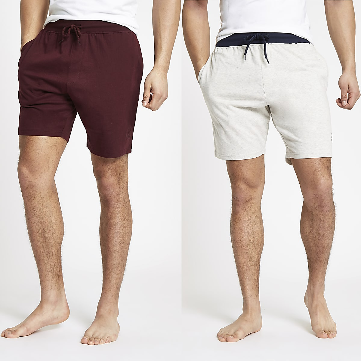 Red and grey R96 shorts 2 pack