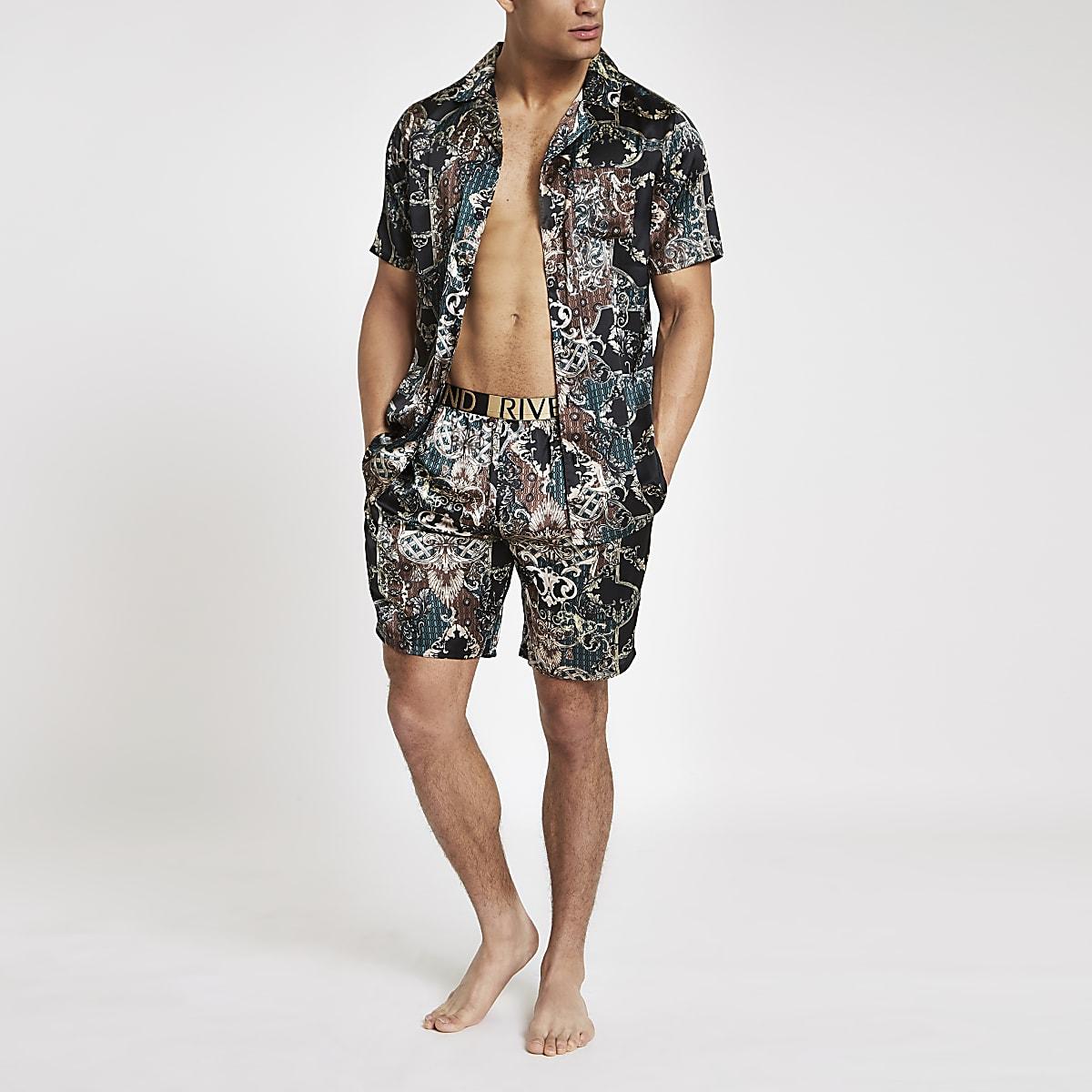 Green sateen baroque print pyjama shorts set