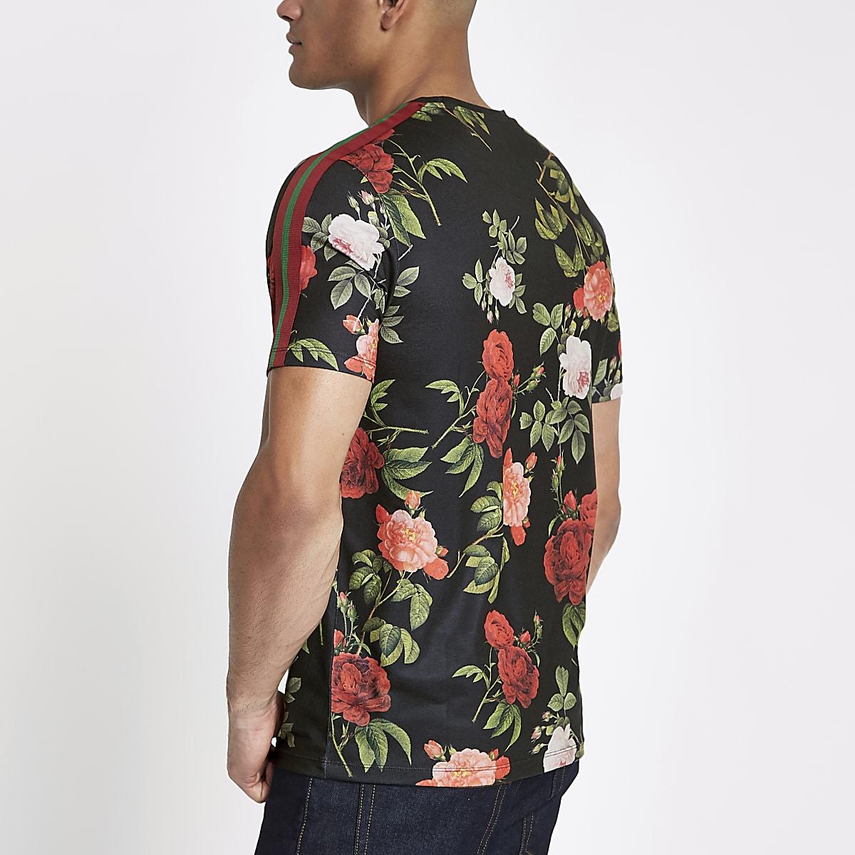 c3851156 Navy floral slim fit tape T-shirt - T-shirts - T-Shirts & Vests - men
