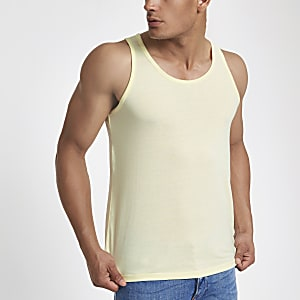 Yellow scoop neck tank