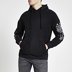 Jack & Jones black embroidered hoodie