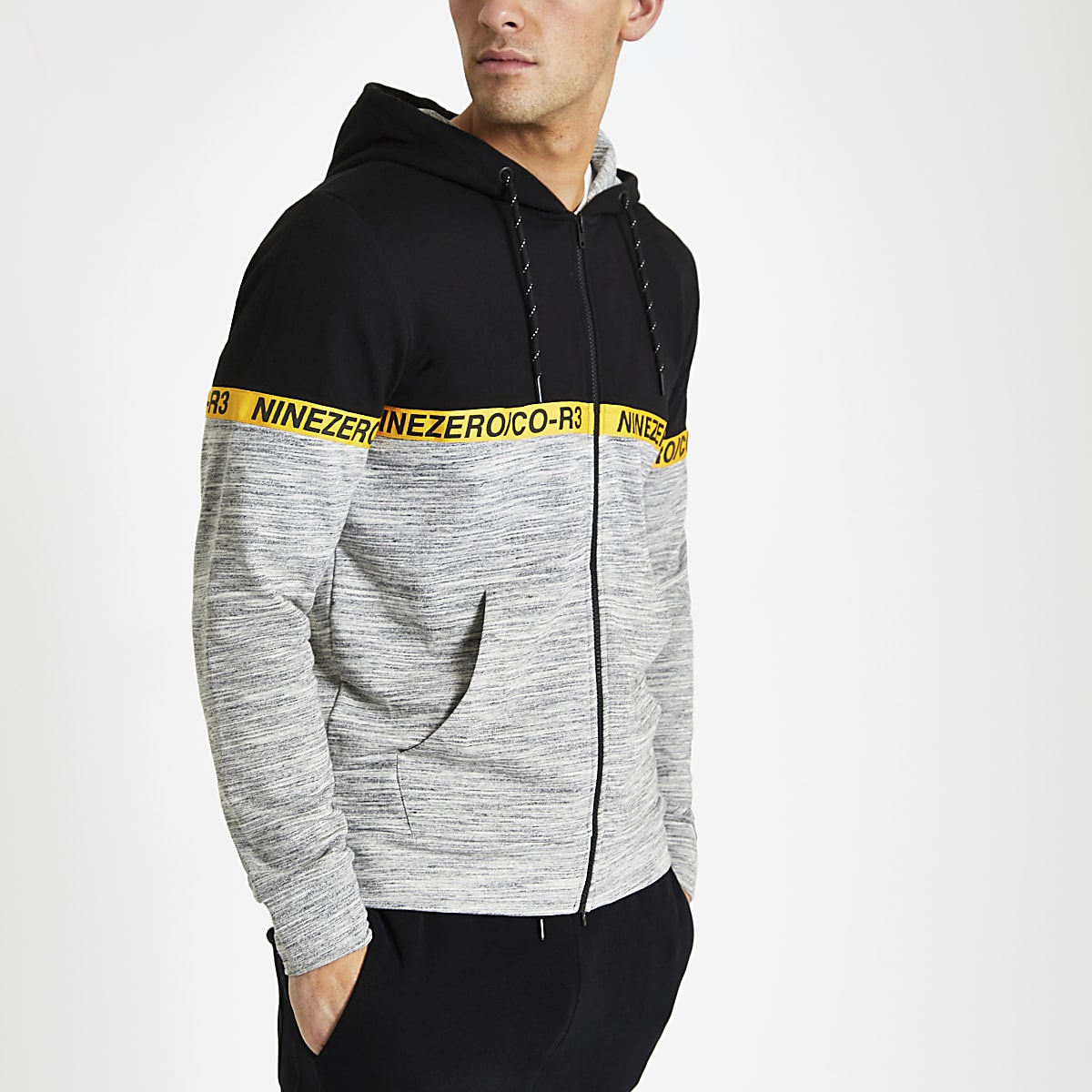Jack & Jones black tape zip up hoodie