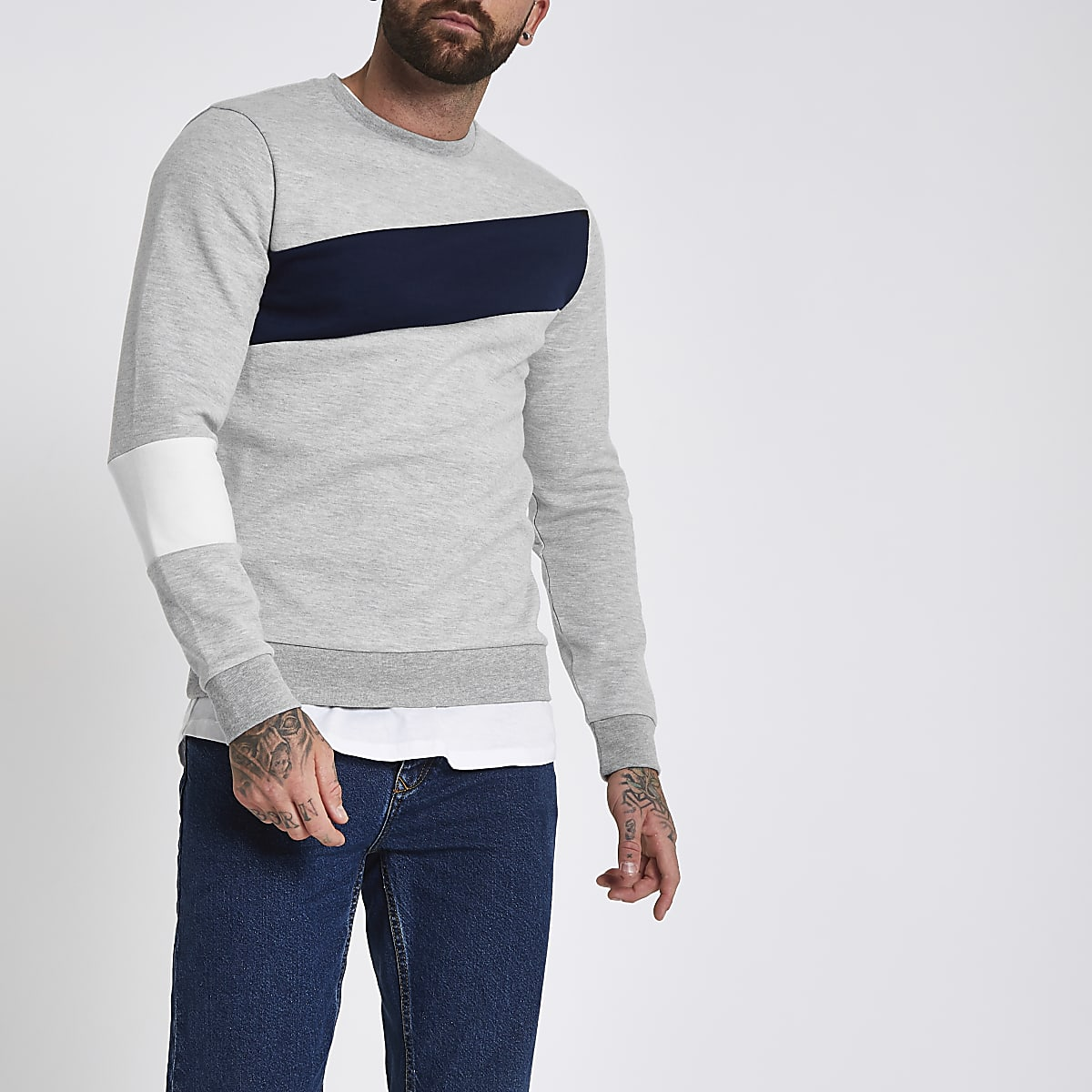 Grey slim fit blocked crew sweatshirt