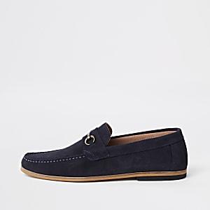 Marineblauwe suède loafers