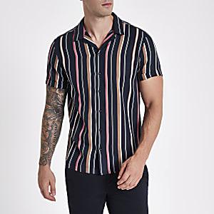 Navy stripe short sleeve revere shirt