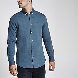 Blue wasp embroidered Oxford shirt