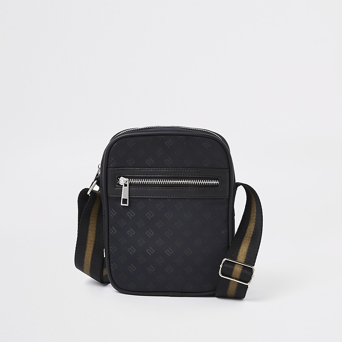 Black front zip RI monogram print cross body
