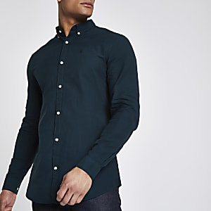 Bottle green wasp embroidered Oxford shirt