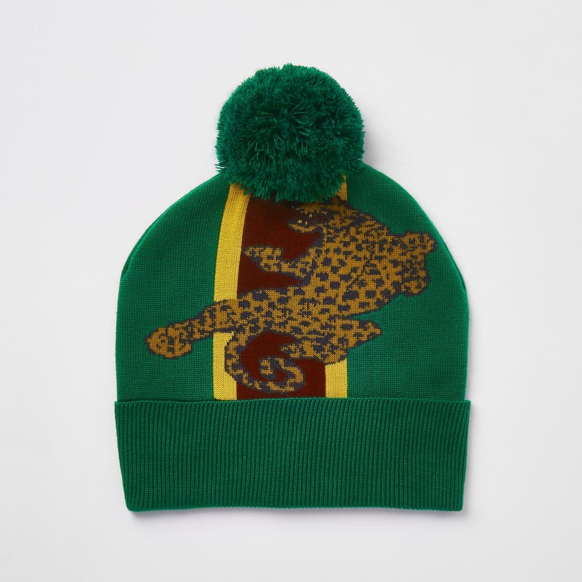 Green leopard print bobble beanie hat