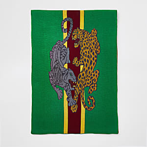 Green leopard print scarf