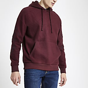 Jack & Jones – Sweat à capuche brodé rouge