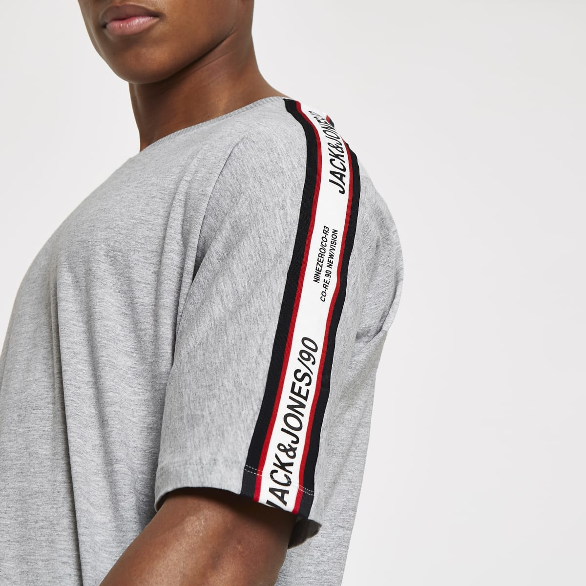 Jack & Jones grey tape T-shirt