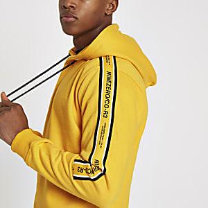 Jack & Jones – Sweat à capuche jaune avec bandes latérales