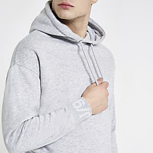 Jack & Jones Core grey printed sleeve hoodie