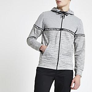 Jack & Jones – Sweat à capuche gris zippé sur le devant