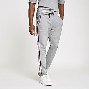 Jack & Jones – Pantalon de jogging gris à bandes latérales