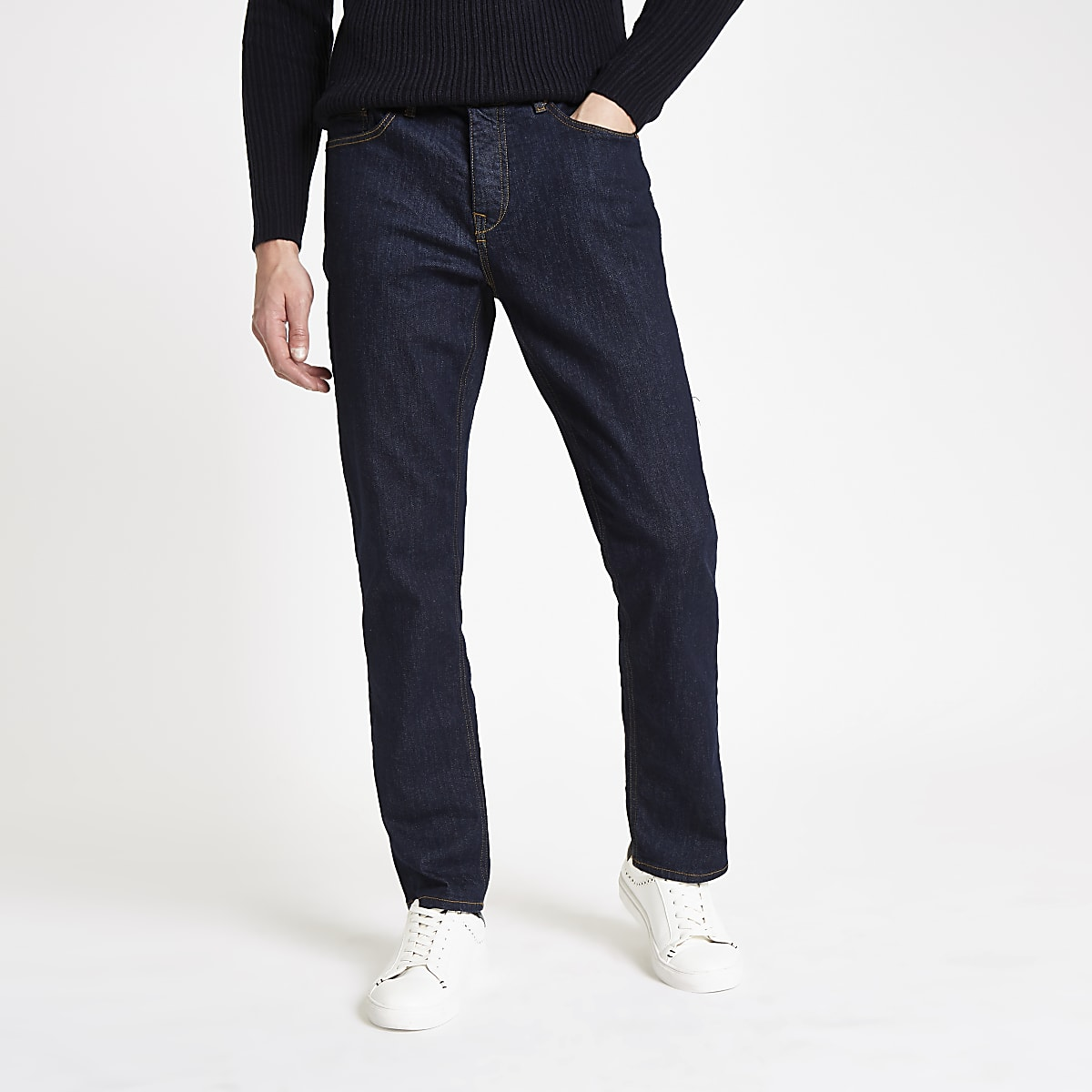 b25591ebfa5 Dark blue Dean straight leg jeans - Straight Jeans - Jeans - men