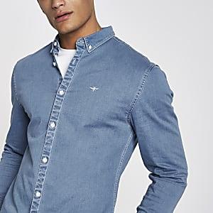 Blue muscle fit long sleeve denim shirt