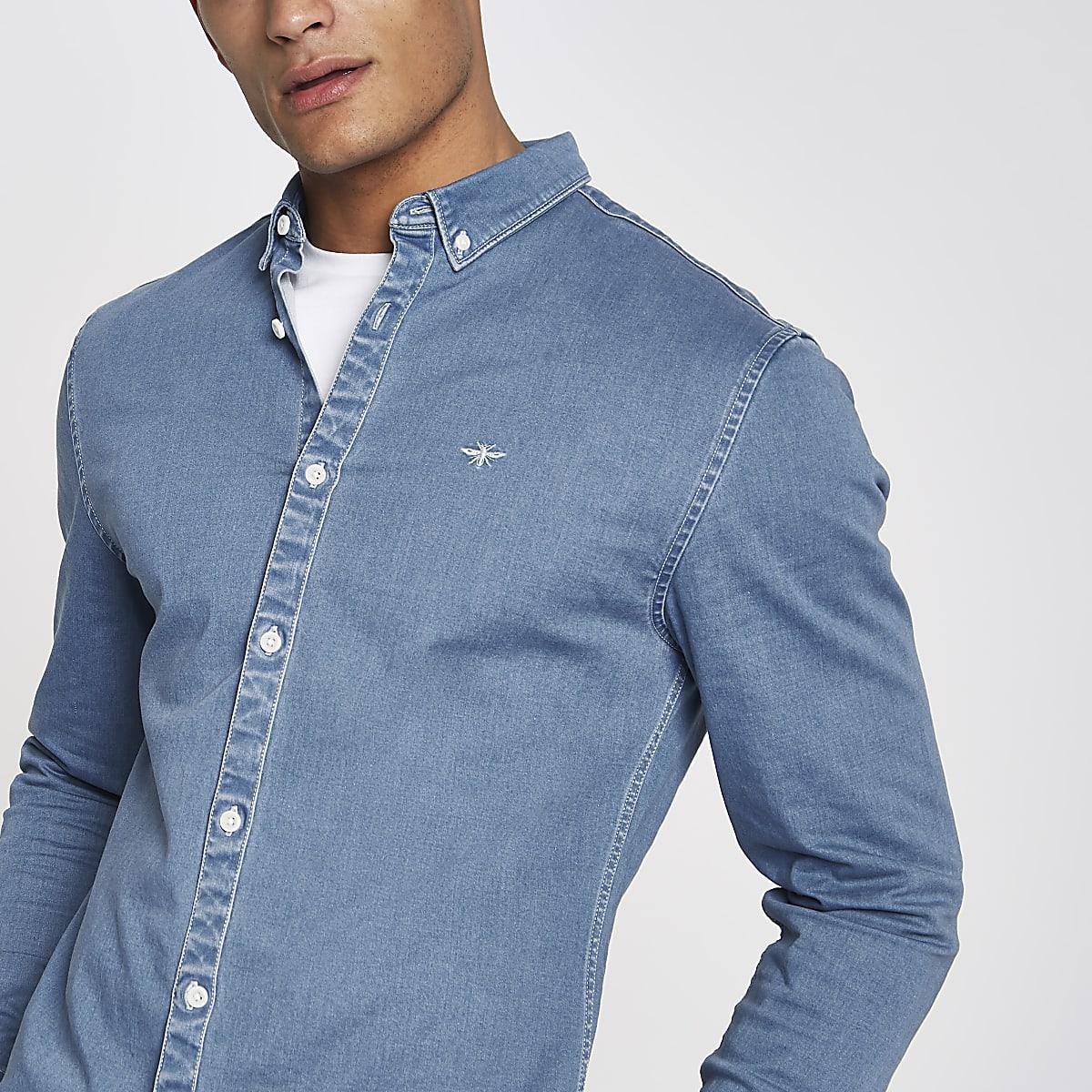 Chemise en jean ajustée bleue à manches longues